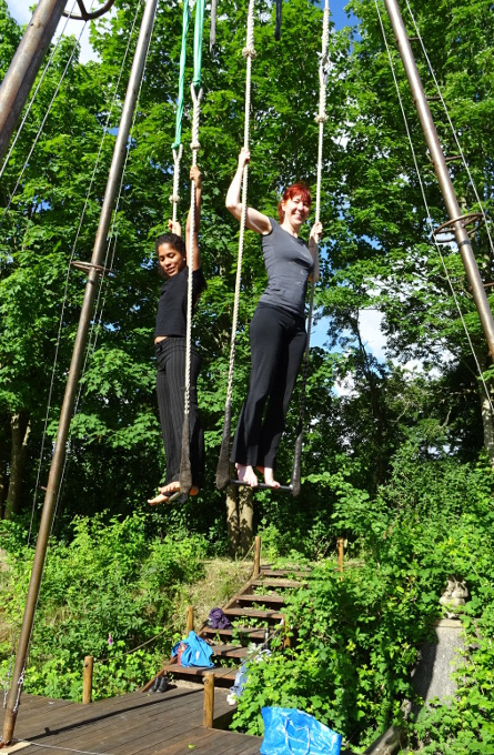 Helen and Barbara on the trapeze