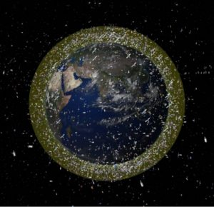 This computer illustration depicts the density of space junk around Earth in low-Earth orbit. (Image: © ESA)