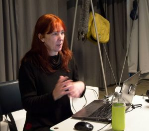 Helen giving talk at Schaumbad; photo: Eva Urspring